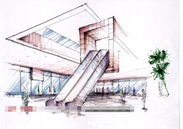 亿利达黄金商场及公寓手绘效果图